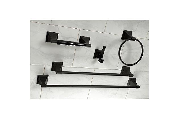 Kingston Brass Monarch 5-piece Bathroom Hardware Set, Matte Black, large