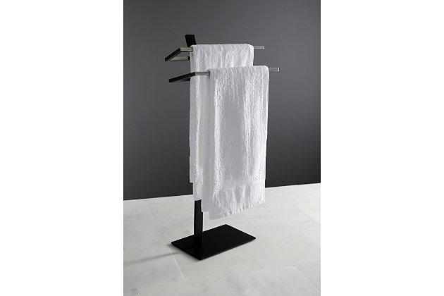 Kingston Brass Edenscape Freestanding Dual Pedestal Towel Rack, Brushed Nickel, large