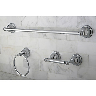 "Kingston Brass Restoration 3-piece Bathroom Hardware Set with 24"" Towel Bar, Polished Chrome, rollover"