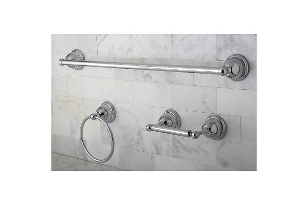 "Kingston Brass Restoration 3-piece Bathroom Hardware Set with 24"" Towel Bar, Polished Chrome, large"