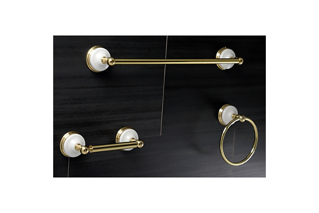 "Kingston Brass Victorian 3-piece Bathroom Hardware Set with 18"" Towel Bar, Polished Brass, large"