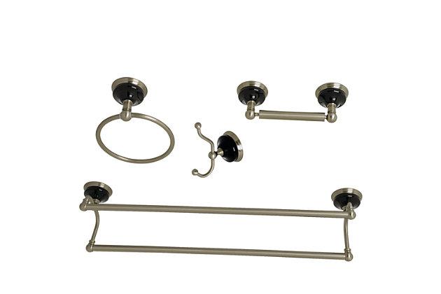 Kingston Brass Water Onyx 4-piece Bathroom Hardware Set with Dual Towel Bar, Brushed Nickel, large
