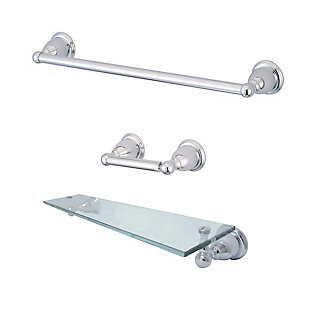 Kingston Brass Heritage 3-piece Bathroom Hardware Set with Glass Shelf, Polished Chrome, rollover