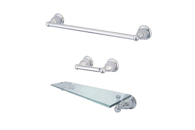 Kingston Brass Heritage 3-piece Bathroom Hardware Set with Glass Shelf, Polished Chrome, large