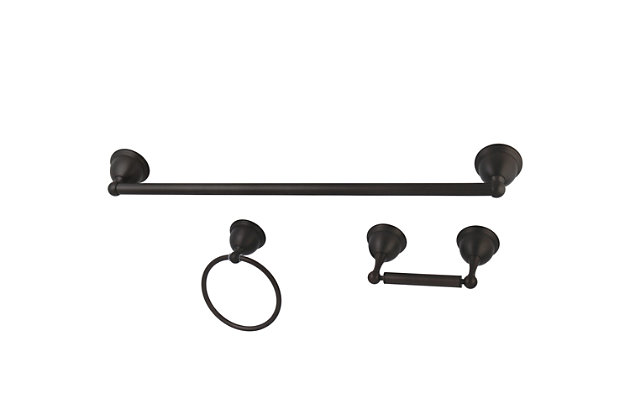 "Kingston Brass Restoration 3-piece Bathroom Hardware Set with 18"" Towel Bar, Oil Rubbed Bronze, large"
