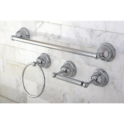 "Kingston Brass Restoration 3-piece Bathroom Hardware Set with 18"" Towel Bar, Polished Chrome, large"