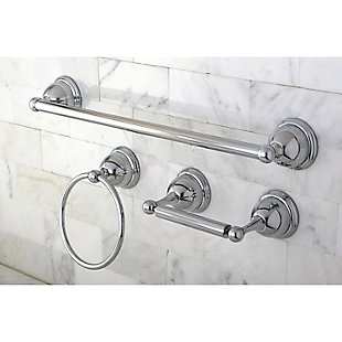 "Kingston Brass Restoration 3-piece Bathroom Hardware Set with 18"" Towel Bar, Polished Chrome, rollover"