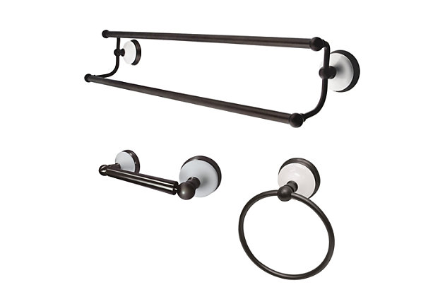 Kingston Brass Victorian 3-piece Bathroom Hardware Set with Dual Towel Bar, Oil Rubbed Bronze, large