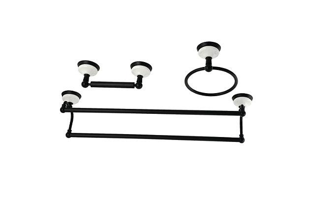 Kingston Brass Victorian 3-piece Bathroom Hardware Set with Dual Towel Bar, Matte Black, large