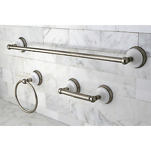 "Kingston Brass Victorian 3-piece Bathroom Hardware Set with 24"" Towel Bar, Brushed Nickel, rollover"