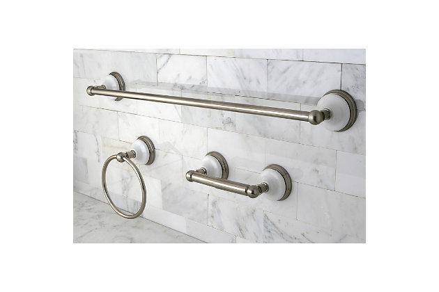 "Kingston Brass Victorian 3-piece Bathroom Hardware Set with 24"" Towel Bar, Brushed Nickel, large"