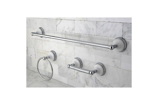 "Kingston Brass Victorian 3-piece Bathroom Hardware Set with 24"" Towel Bar, Polished Chrome, large"