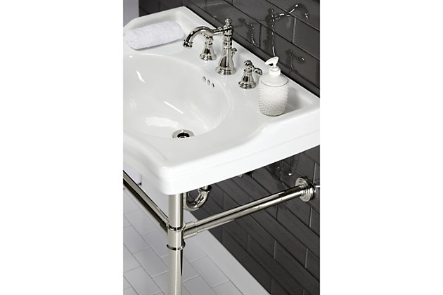 Kingston Brass American Classic Widespread Bathroom Faucet with Drain, Polished Nickel, large