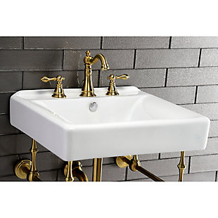 Kingston Brass American Classic Widespread Bathroom Faucet with Drain, Brushed Brass, rollover