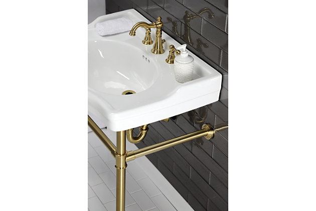 Kingston Brass American Classic Widespread Bathroom Faucet with Drain, Brushed Brass, large