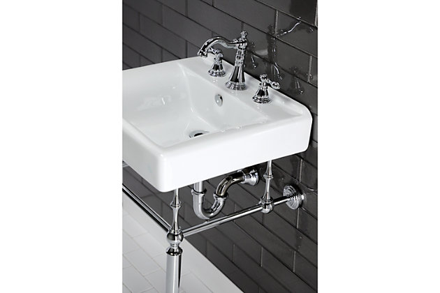 Kingston Brass American Classic Widespread Bathroom Faucet with Drain, Polished Chrome, large