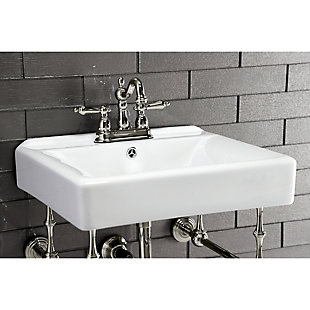 """Kingston Brass Heritage 4"""" Centerset Bathroom Faucet with Plastic Pop-Up, Polished Nickel, large"""