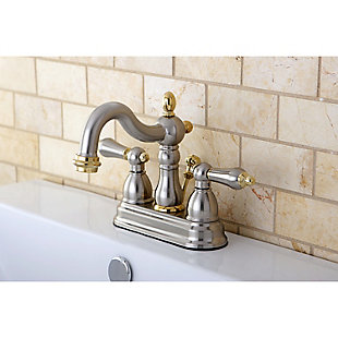 "Kingston Brass Heritage 4"" Centerset Bathroom Faucet with Plastic Pop-Up, Brushed Nickel/Brass, rollover"