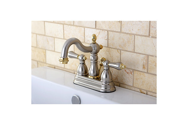 """Kingston Brass Heritage 4"""" Centerset Bathroom Faucet with Plastic Pop-Up, Brushed Nickel/Brass, large"""