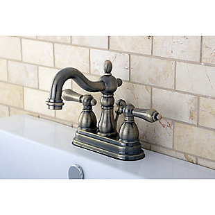 """Kingston Brass Heritage 4"""" Centerset Bathroom Faucet with Plastic Pop-Up, Antique Brass, large"""