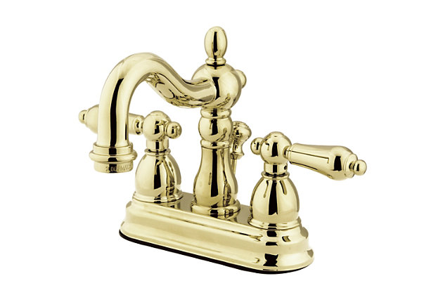 """Kingston Brass Heritage 4"""" Centerset Bathroom Faucet with Plastic Pop-Up, Polished Brass, large"""
