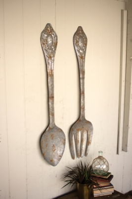 Fork Spoon Wall Decor Rustic Metal Finish Accents Product Photo 3395