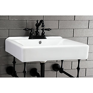 "Kingston Brass Heritage 4"" Centerset Bathroom Faucet with Plastic Pop-Up, Matte Black, rollover"