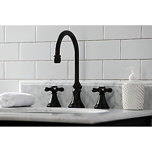 Kingston Brass Governor Widespread Bathroom Faucet with Brass Pop-Up, Oil Rubbed Bronze, large
