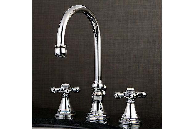 Kingston Brass Governor Widespread Bathroom Faucet with Brass Pop-Up, Polished Chrome, large