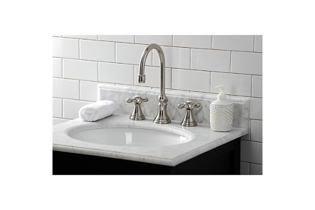 Kingston Brass Governor Widespread Bathroom Faucet with Brass Pop-Up, Brushed Nickel, large