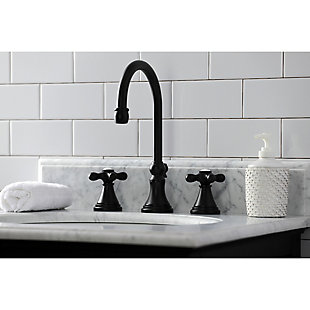 Kingston Brass Governor Widespread Bathroom Faucet with Brass Pop-Up, Matte Black, rollover