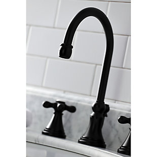 Kingston Brass Governor Widespread Bathroom Faucet with Brass Pop-Up, Matte Black, large