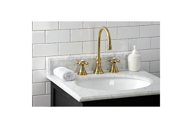 Kingston Brass Governor Widespread Bathroom Faucet with Brass Pop-Up, Brushed Brass, large