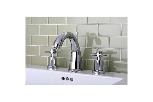 Kingston Brass Concord Widespread Bathroom Faucet with Brass Pop-Up, Polished Chrome, large