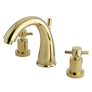 Kingston Brass Concord Widespread Bathroom Faucet with Brass Pop-Up, Polished Brass, large