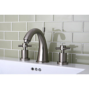 Kingston Brass Concord Widespread Bathroom Faucet with Brass Pop-Up, Brushed Nickel, rollover