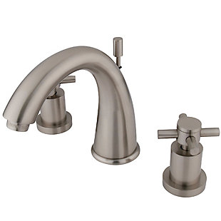 Kingston Brass Concord Widespread Bathroom Faucet with Brass Pop-Up, Brushed Nickel, large