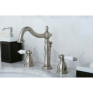 Kingston Brass Heritage Widespread Bathroom Faucet with Plastic Pop-Up, Brushed Nickel, large