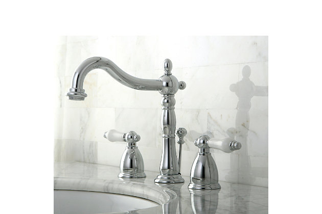 Kingston Brass Heritage Widespread Bathroom Faucet with Plastic Pop-Up, Polished Chrome, large