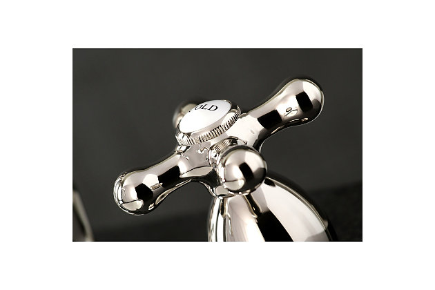 Kingston Brass Heritage Widespread Bathroom Faucet with Brass Pop-Up, Polished Nickel, large