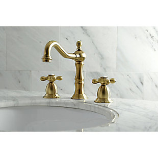 Kingston Brass Heritage Widespread Bathroom Faucet with Brass Pop-Up, Brushed Brass, rollover
