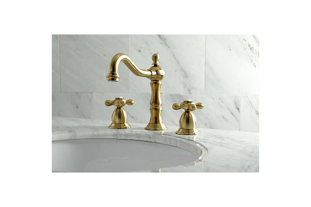 Kingston Brass Heritage Widespread Bathroom Faucet With Brass Pop Up Ashley Furniture Homestore