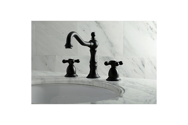 Kingston Brass Heritage Widespread Bathroom Faucet with Brass Pop-Up, Matte Black, large