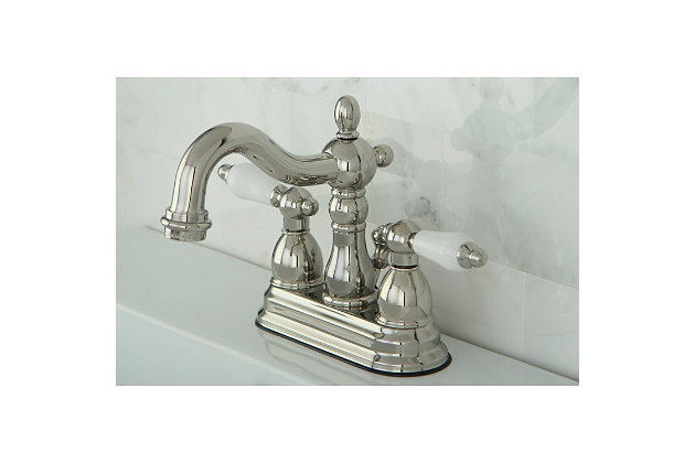 "Kingston Brass Heritage 4"" Centerset Bathroom Faucet with Plastic Pop-Up, Polished Nickel, large"