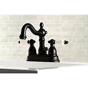 "Kingston Brass Heritage 4"" Centerset Bathroom Faucet with Plastic Pop-Up, Matte Black, large"