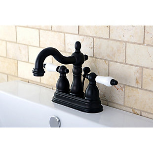 """Kingston Brass Heritage 4"""" Centerset Bathroom Faucet with Plastic Pop-Up, Oil Rubbed Bronze, large"""