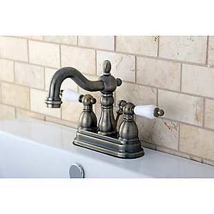 "Kingston Brass Heritage 4"" Centerset Bathroom Faucet with Plastic Pop-Up, Antique Brass, large"