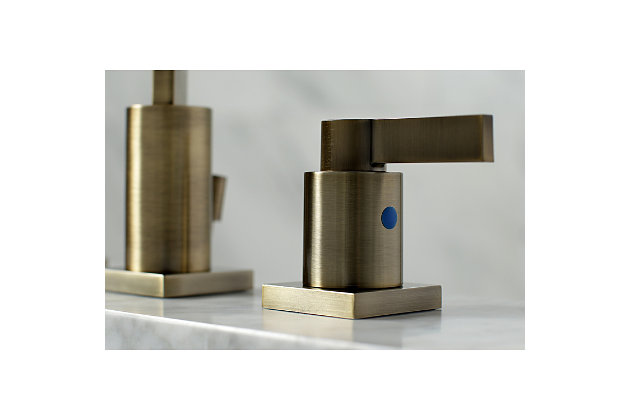 Kingston Brass NuvoFusion Widespread Bathroom Faucet with Plastic Pop-Up, Antique Brass, large