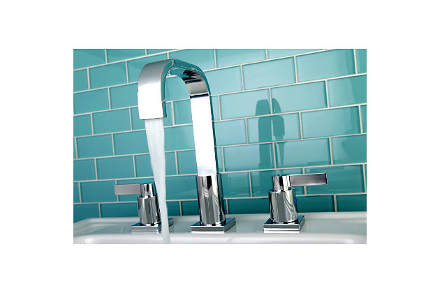 Kingston Brass NuvoFusion Widespread Bathroom Faucet with Plastic Pop-Up, Polished Chrome, large