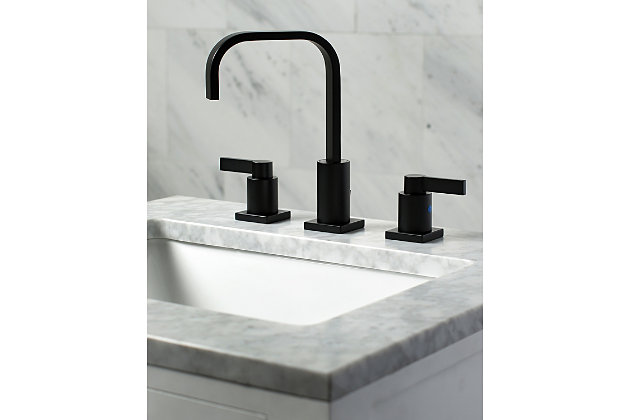 Kingston Brass NuvoFusion Widespread Bathroom Faucet with Plastic Pop-Up, Matte Black, large